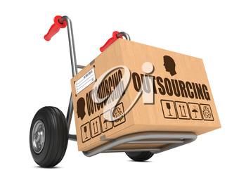 Outsourcing - Cardboard Box on Hand Truck Isolated on White Background.