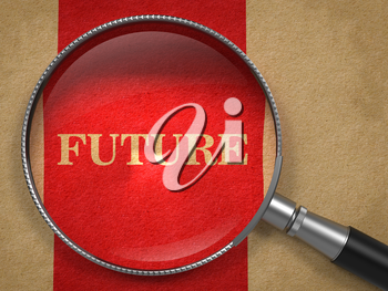 Future concept. Magnifying Glass on Old Paper with Red Vertical Line Background.