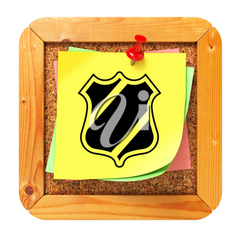 Security Concept with Shield Icon on Yellow Sticker on Cork Message Board.