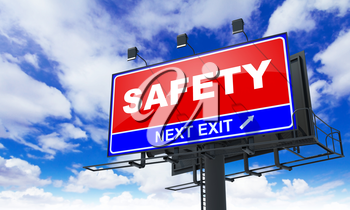 Safety - Red Billboard on Sky Background. Business Concept.