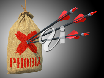 Phobia Three Arrows Hit in Red Mark Target on a Hanging Sack on Grey Background.
