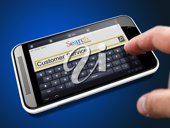 Customer Service in Search String - Finger Presses the Button on Modern Smartphone on Blue Background.