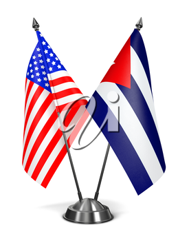 USA and Cuba - Miniature Flags Isolated on White Background.