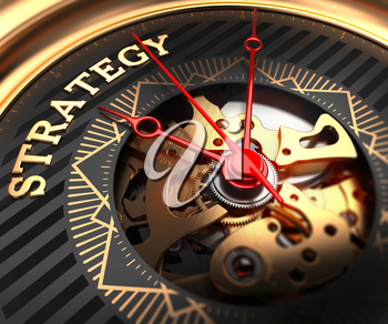 Strategy on Black-Golden Watch Face with Watch Mechanism. Full Frame Closeup.