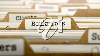 Royalty Free Clipart Image of Bankrupts Text on a Folder