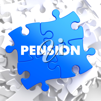 Royalty Free Clipart Image of Pension Text on Puzzle Pieces