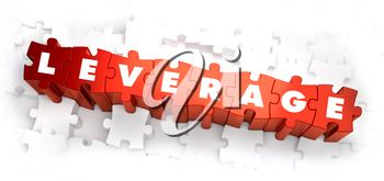 Leverage - Text on Red Puzzles on White Background. Selective Focus. 3D Render.