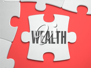 Wealth - Text on Puzzle on the Place of Missing Pieces. Scarlett Background. Close-up. 3d Illustration.