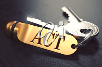 Act Concept. Keys with Golden Keyring on Black Wooden Table. Closeup View, Selective Focus, 3D Render. Toned Image.