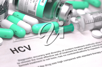 HCV - Hepatitis C Virus - Printed Diagnosis with Mint Green Pills, Injections and Syringe. Medical Concept with Selective Focus.