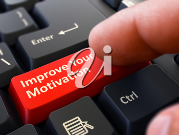 Improve Your Motivation Button. Male Finger Clicks on Red Button on Black Keyboard. Closeup View. Blurred Background.