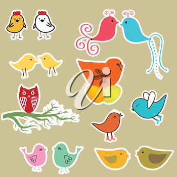 Set of valentines cards with birds