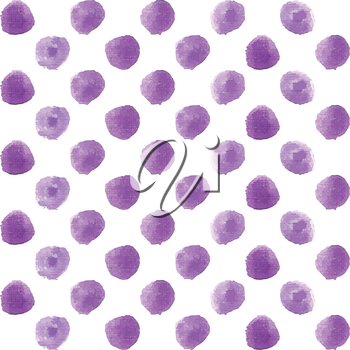 Seamless polka dot pattern from watercolor paint violet circles. Vector illustration for your design.