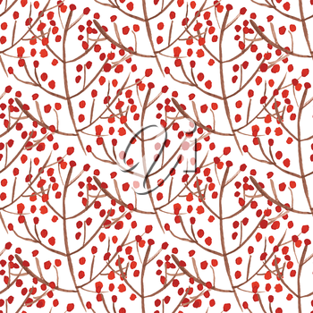 Watercolor seamless pattern with red berry branches. Vector illustration  for design of gift packs, wrap,  patterns fabric, wallpaper, web sites and other.