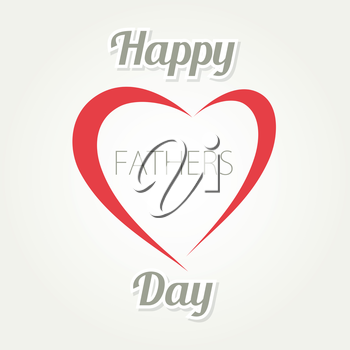 Happy Father s Day. Vector card with heart and text on white background