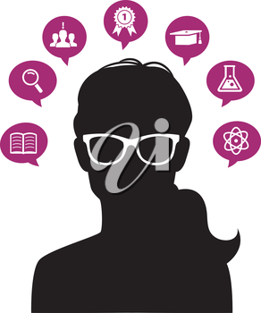 Vector illustration of Woman's head with education icons