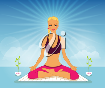 Vector illustration of Beautiful woman doing yoga practice