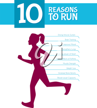 Vector illustration of 10 top reasons to run