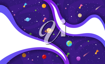 Vector illustration of Space background with stars and planets