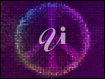 Peace Sign Multicolor abstract lights background. Square pixel mosaic vector