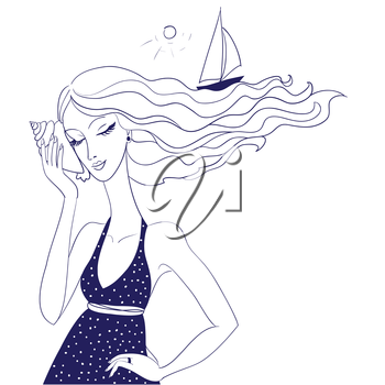 Portrait of a beautiful woman while holding and listening to a conch shell