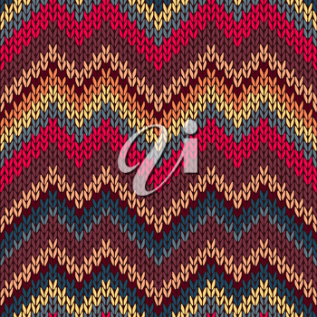 Style Seamless Knitted Pattern. Red Blue Brown Yellow Orange Color Illustration from my large Collection of Samples of knitted Fabrics