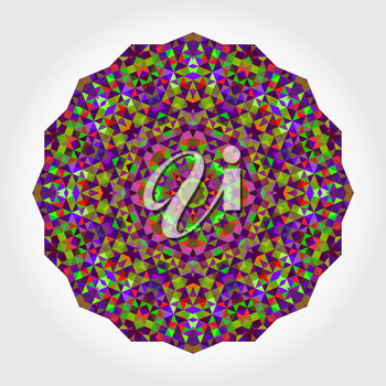 Abstract Flower. Creative Colorful style vector wheel. Circle backdrop.  Mosaic Banner of Geometric shapes. Red Green  Purple Lilac Violet Magenta Round Mandala Background
