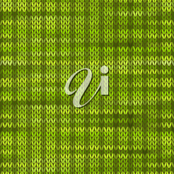 Style Seamless Knitted Melange Pattern. Green Color Vector Illustration