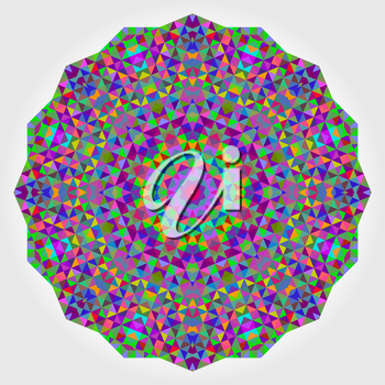 Abstract Flower. Creative Colorful style vector wheel. Circle backdrop.  Mosaic Banner of Geometric shapes. Red Green Orange Purple Lilac Blue Violet Magenta Round Mandala Background