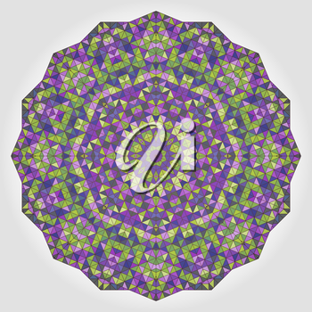 Abstract Flower. Creative Colorful style vector wheel. Lilac Violet Brown Yellow Blue White Black Dominant Color