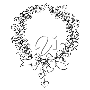 Floral vintage hand drawn vector wreath. Ink doodle design isolated on white for wedding, birthday, christmas cards and other invitation. Rustic style