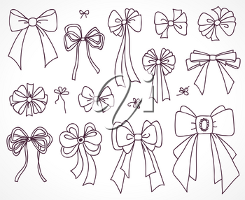 Set of bows for the design congratulatory cards, gifts, souvenirs. Drawing sketches.