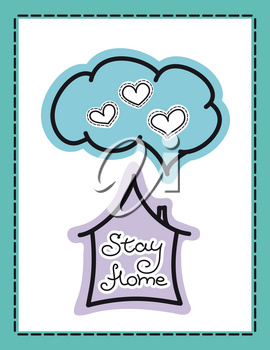 Stay home poster with text. Motivational quotes to stay home during quarantine time. Coronavirus prevention vector illustration. COVID-19 coronavirus protection concept banner.