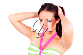 Close up shot of a youing girl wearing a bikini isolated on white
