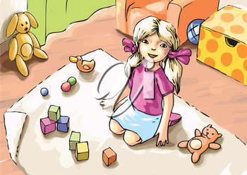 The little girl is playing with toys.Editable vector EPS v9.0