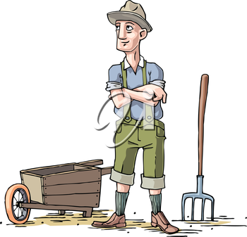 The farmer weared in a hat and the short pants is standing near the wheelbarrow and the pitchfork.