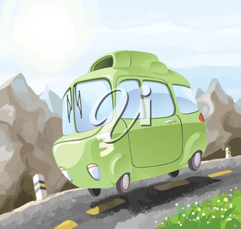 A small retro-styled car having a dangerous trip on the mountain road.Editable vector EPS v9.0