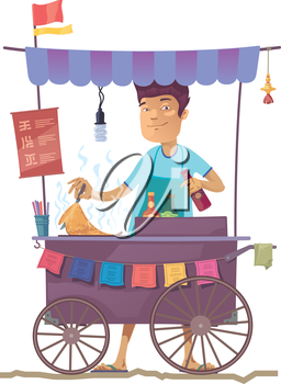 The smiling young asian cook is preparing the tasty pancake on his outdoor mobile street kitchen. He is looking at camera.