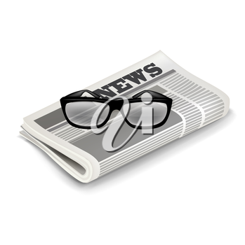 glasses and newspaper isolated on white