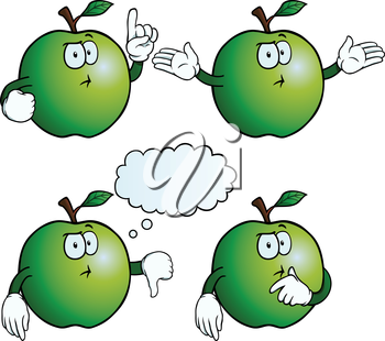 Royalty Free Clipart Image of Apples Thinking
