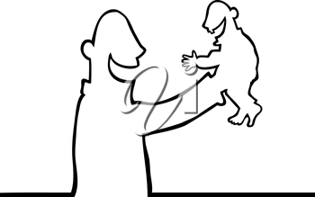 Royalty Free Clipart Image of a Man Holding a Baby