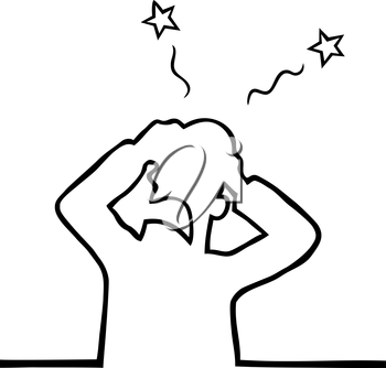 Royalty Free Clipart Image of a Man with a Headache
