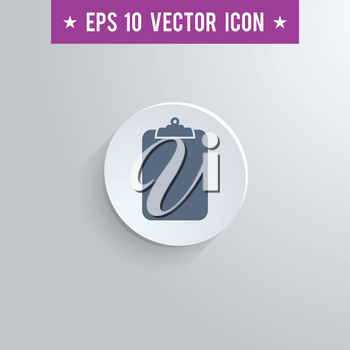 Stylish clipboard icon. Blue colored symbol on a white circle with shadow on a gray background. EPS10 with transparency.