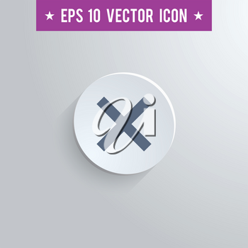Stylish cross sign icon. Blue colored symbol on a white circle with shadow on a gray background. EPS10 with transparency.