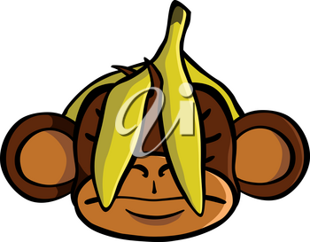 See no evil monkey with a banana covering his eyes