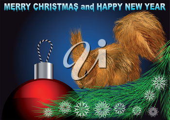 Royalty Free Clipart Image of a Squirrel on a Christmas Greeting