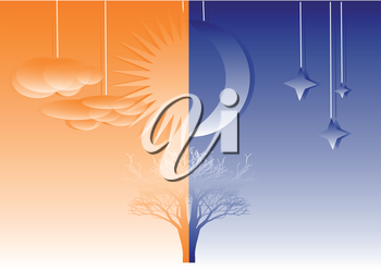 Royalty Free Clipart Image of a Tree Split for Day and Night