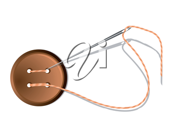 Royalty Free Clipart Image of a Needle, Thread and Button
