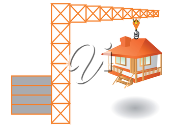 construction. abstract crane and house isolated on white