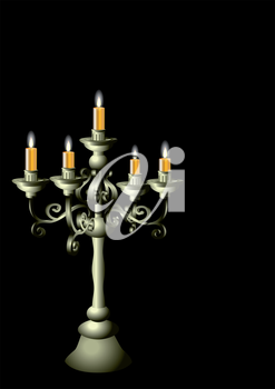 silver candelabrum with cadles isolated on the black background